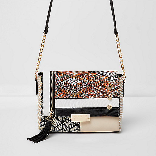 Beige woven stud tassel cross body bag