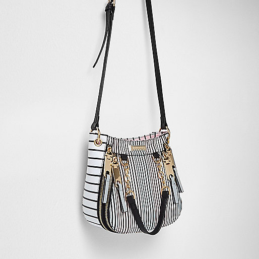White stripe print cross body mini tote bag