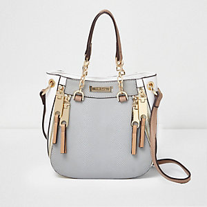 Grey snake cross body mini chain tote bag
