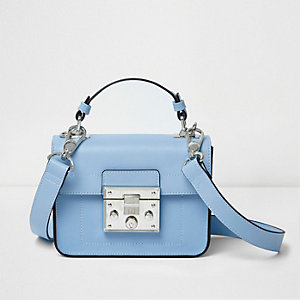 Blue lock front mini satchel cross body bag