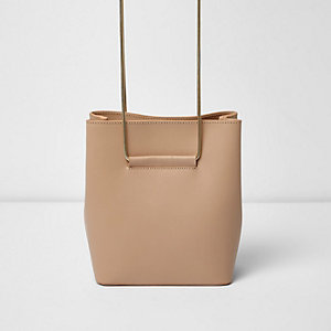 Nude leather chain strap mini bucket bag