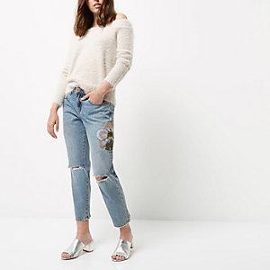 RI Petite - light wash jeans met rechte pijpen en borduursels