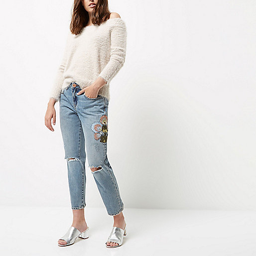 Petite light wash embroidered cigarette jeans