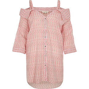 Red stripe cold shoulder collar shirt