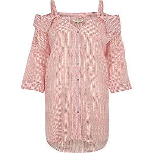 Red stripe cold shoulder collar shirt
