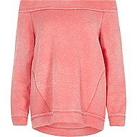 Pink jersey bardot sweatshirt