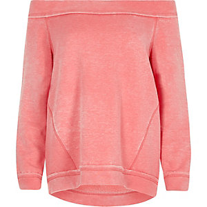 Pinkes Bardot-Sweatshirt aus Jersey