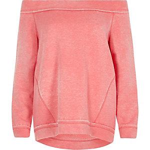 Sweat en jersey rose à encolure Bardot