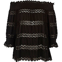 Black bardot lace shirred top