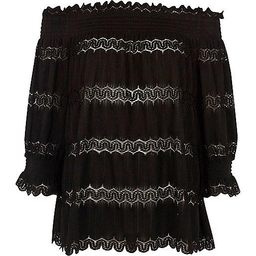 Black bardot lace shirred top