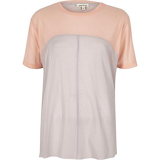 Pink mesh color block oversized T-shirt