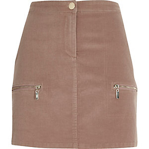 Dusty pink cord zip pocket mini skirt