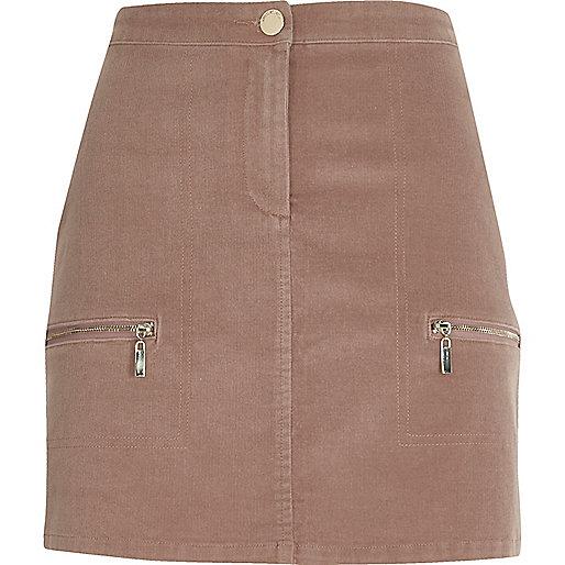 Dusty pink cord zip pocket mini skirt