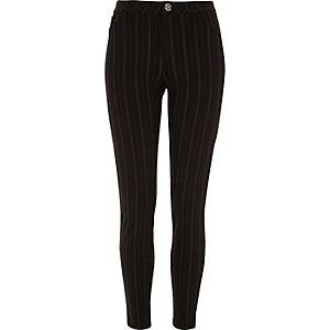 Pantalon skinny à fines rayures noir