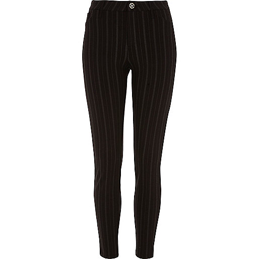Black pinstripe skinny trousers
