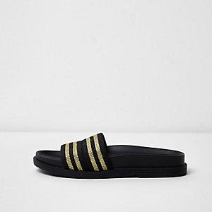 Sandales noires à rayures métallisées