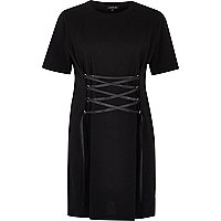Black corset front oversized T-shirt dress