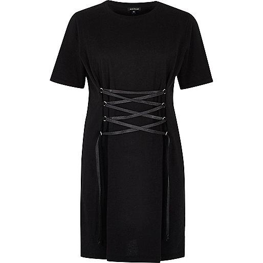 Zwarte oversized T-shirtjurk met ingesnoerde voorkant