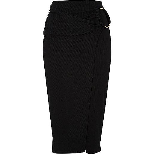 Black ribbed wrap midi pencil skirt