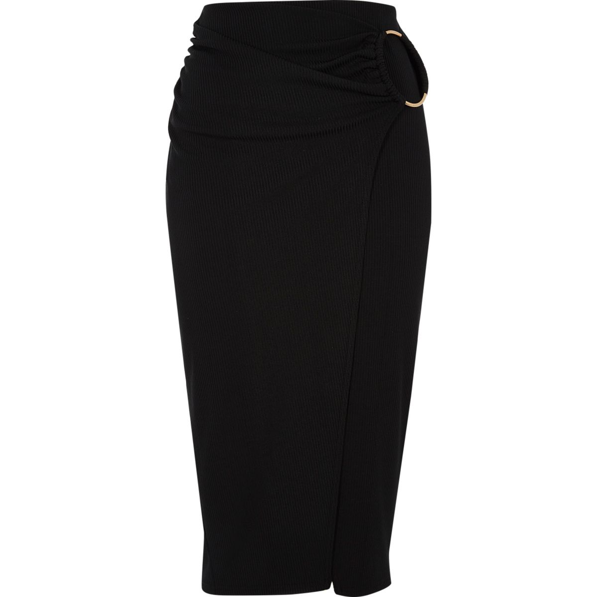 Black ribbed wrap midi pencil skirt
