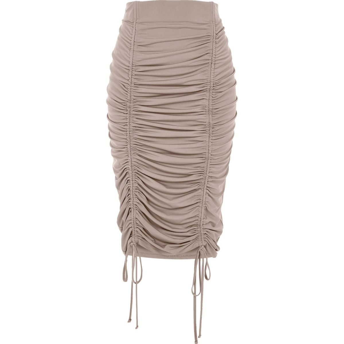 Beige ruched pencil skirt