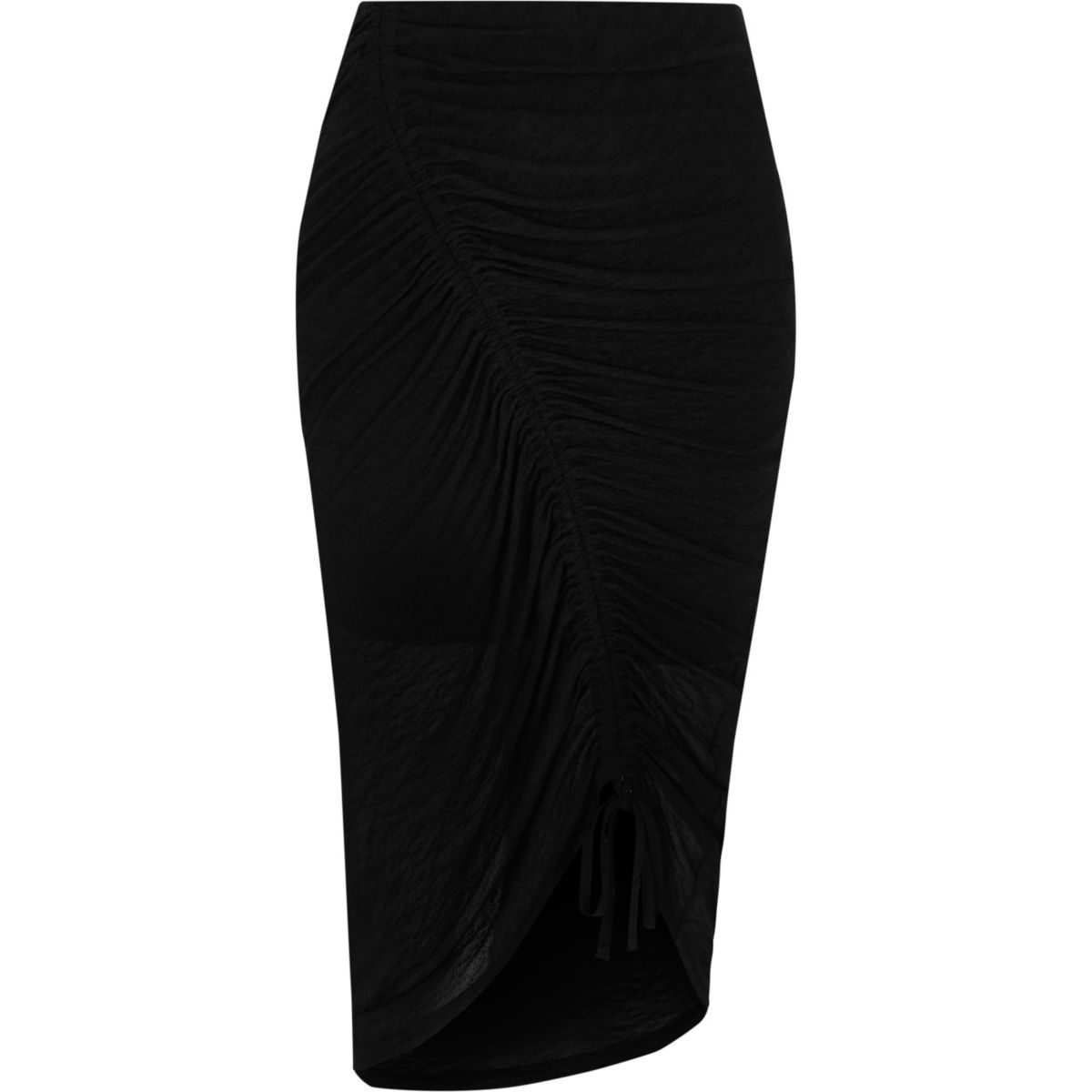 Black diagonal ruched midi pencil skirt