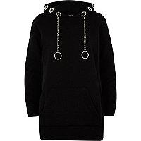 Black chain eyelet hoodie