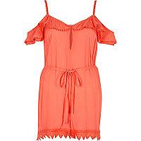 Orange frill cold shoulder beach romper