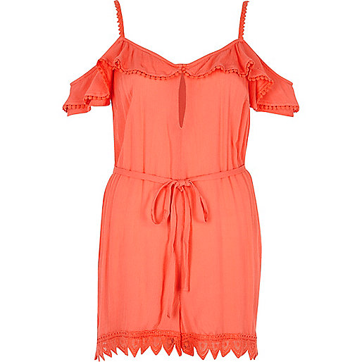 Orange frill cold shoulder beach playsuit
