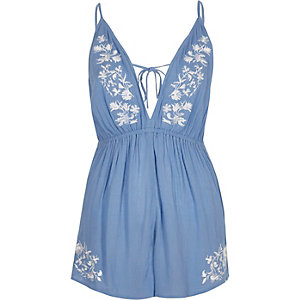 Blue floral embroidered romper
