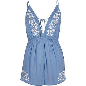 Combi-short bleu à fleurs brodées