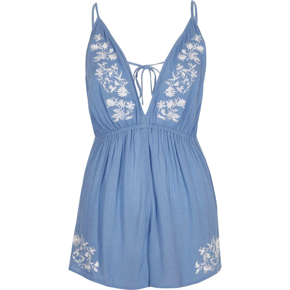 Blue floral embroidered romper