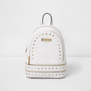 White studded mini backpack