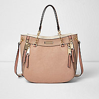 Beige zip scoop slouchy cross body tote bag
