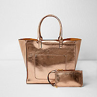 Rose gold metallic beach tote bag