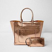 Tote Bag in Roségold-Metallic