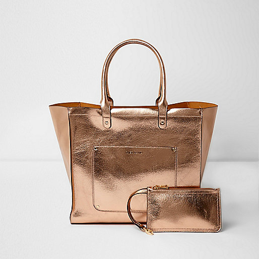 Rose gold metallic beach tote bag