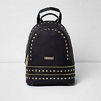 Black stud zip pocket backpack