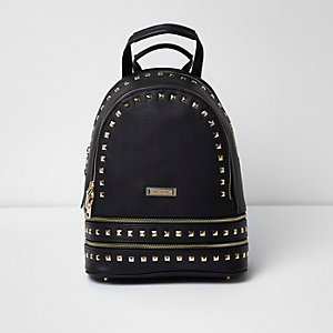 Black stud zip pocket backpack