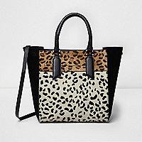 Cabas en cuir imprimé léopard noir
