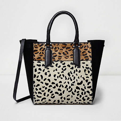 Black leopard print leather tote bag