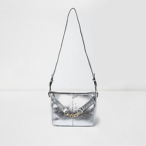 Silver metallic leather chain shoulder bag