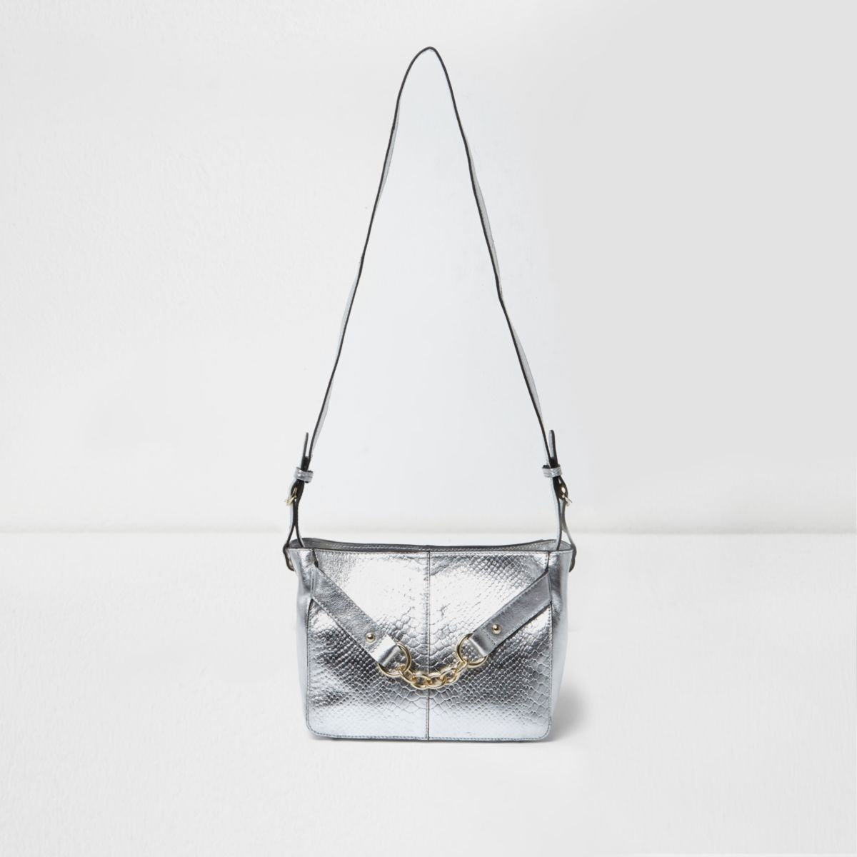 Silver metallic leather chain shoulder bag