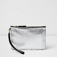 Silver metallic leather clutch bag