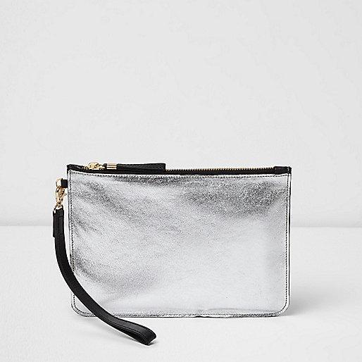 Silver metallic leather clutch bag