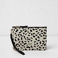 Cream leopard print pony skin clutch bag