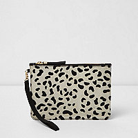 Cream leopard print pony skin clutch bag