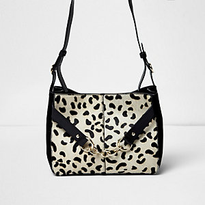Black leather leopard print pony bag