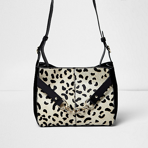 Black leather leopard print pony bag