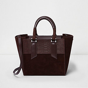 Burgundy leather mini tote bag